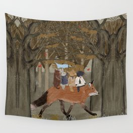 the amber fox Wall Tapestry