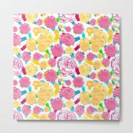 Colourful Floral Print Metal Print