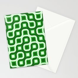 Truchet Modern Abstract Concentric Circle Pattern - Green Stationery Cards