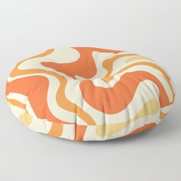 Tangerine Liquid Swirl Retro Abstract Pattern Floor Pillow