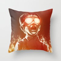 dragon ball z Throw Pillows featuring FIREEE! by Dr. Lukas Brezak