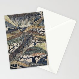 Marching Trees Batik, 1970's Nature Painting in Natural Tones Stationery Cards