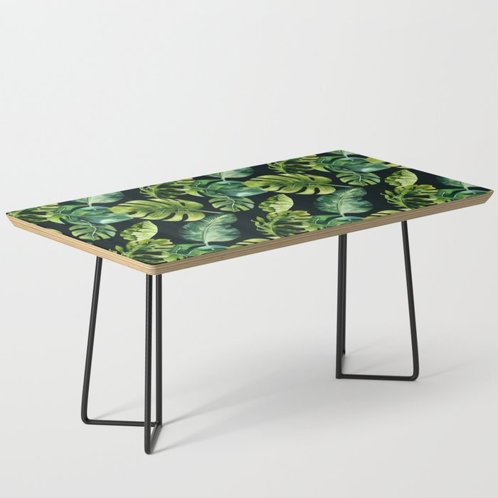 Watercolor Botanical Tropical Palm Leaves on Solid Black Background Coffee Table