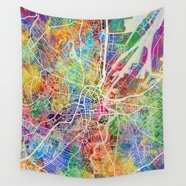 Belfast Northern Ireland City Map Wall Tapestry