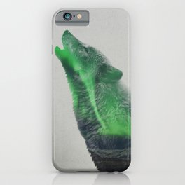 Wolf Howling In The Aurora Borealis iPhone Case