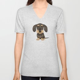 Wirehaired Dachshund | Cute Wire Haired Wiener Dog | Wild Boar and Tan Teckel Unisex V-Neck
