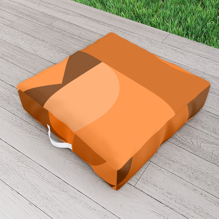 Desert Vibes Geometric Shapes in Terracotta and Burnt Orange Outdoor Floor Cushion