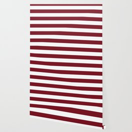 Deep Red Pear and White Wide Horizontal Cabana Tent Stripe Wallpaper