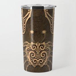 Vintage Rustic Cancer Zodiac Sign Travel Mug