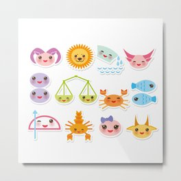 Funny Kawaii zodiac sign, astrological stiker virgo, aries, gemini, cancer, aquarius, taurus,  leo Metal Print