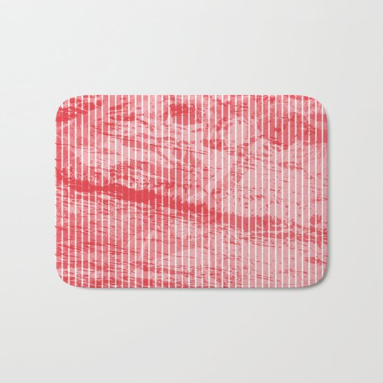 Grunge red and white stripes texture Bath Mat
