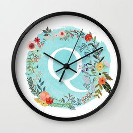Personalized Monogram Initial Letter Q Blue Watercolor Flower Wreath Artwork Wall Clock