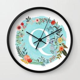 Personalized Monogram Initial Letter Q Blue Watercolor Flower Wreath Artwork Wall Clock