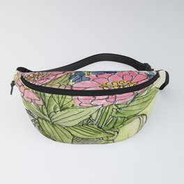 Pink Zinnias in Pitcher Watercolor Fanny Pack