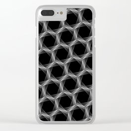 crazy hexagons (reverse) Clear iPhone Case