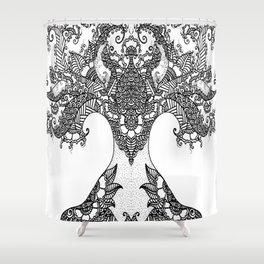 Unity of Halves - Life Tree - Rebirth - White Shower Curtain