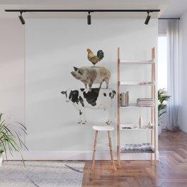 Three Stacked Farm Animals Wall Mural