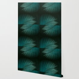 Palm leaf synchronicity - twilight teal Wallpaper