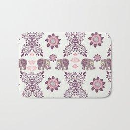 Boho Pink Elephants Bath Mat