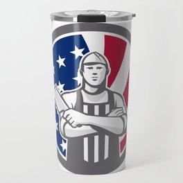 American Butcher Front USA Flag Icon Travel Mug