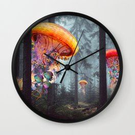 ElectricJellyfish Worlds in a Forest Wall Clock