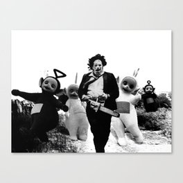 Leatherface with Teletubbies Canvas Print