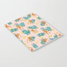Tropical Monkey Banana Bonanza on Blush Pink Notebook