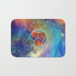 Abstract Sacred Geometry Cosmic Space Tapestry Bath Mat