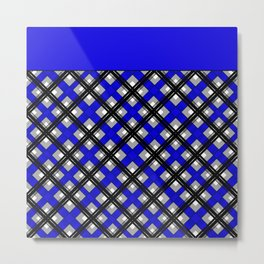 Combo black blue plaid Metal Print