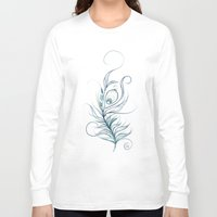peacock feather Long Sleeve T-shirts featuring Peacock Feather by LouJah