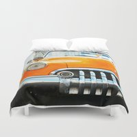 cuba Duvet Covers featuring Cuba Yellow by frenchtoy