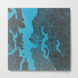 Seattle map blue Metal Print