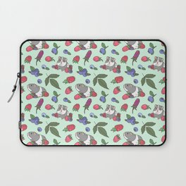 Guinea Pig Pattern in Mint Green Background with mix berries Laptop Sleeve