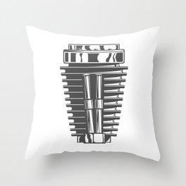 Motorcycle engine cylinder in design fashion modern monochrome style illustration Throw Pillow