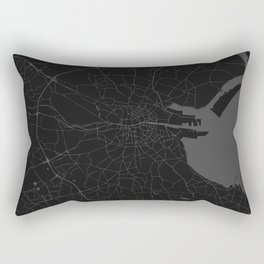 Black on Grey Dublin Street Map Rectangular Pillow