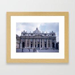 Vintage Color Photo * Kodachrome * St Peter's Basilica * 1950's * Vatican * Rome * Italy Framed Art Print