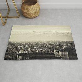 Turin, Italy Skyline Cityscape Panoramic Photograph Rug