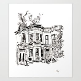 Park Slope Brownstone Drawing Art Print