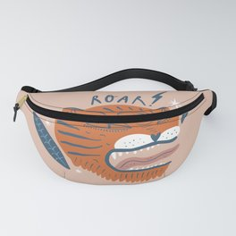 Roaring Tiger Head Midcentury Modern Cool Magical Mystical Abstract Art Bohemian Boho Style Trendy  Fanny Pack
