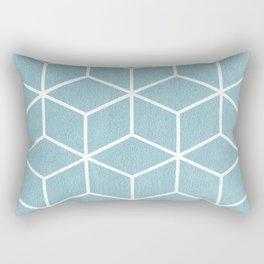 Light Blue and White - Geometric Textured Cube Design Rectangular Pillow