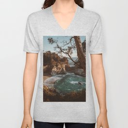 Big Sur Sunset at McWay Falls Unisex V-Neck