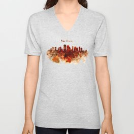 New Orleans watercolor skyline Unisex V-Neck