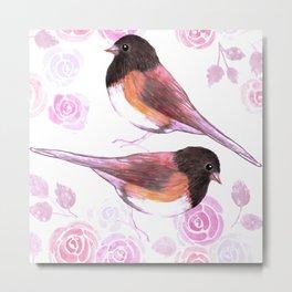 Juncos and roses watercolor painting Metal Print