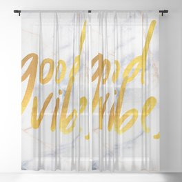 Good Vibes - Golden Lettering on Luxury Marble Sheer Curtain