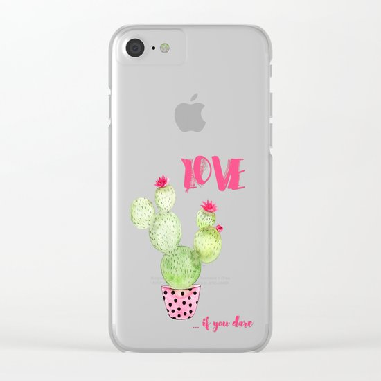 Love if you dare - Cactus watercolor illustration Clear iPhone Case