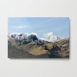 Snow topped mountains in the Hartsop valley. Cumbria, UK Metal Print