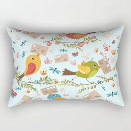 Special Springtime Delivery From Little Birds Pattern Rectangular Pillow