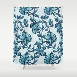 Morning Glories in Blue Shower Curtain