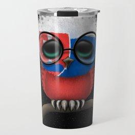 Baby Owl with Glasses and Slovakian Flag Travel Mug
