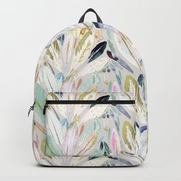 Pastel Shimmer Feather Leaves on Gray Backpack